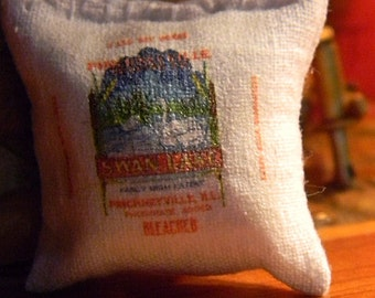 Swan Lake Flour Sack - Miniature Dollhouse Sized - Made from an authentic Flour Sack