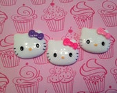 Small Kitty Faces - 3pc - 3 colors bows - So cute