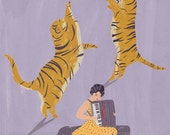 Tigers and accordionist circus giclee print
