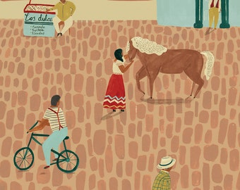 Mexican Street scene Giclee Print