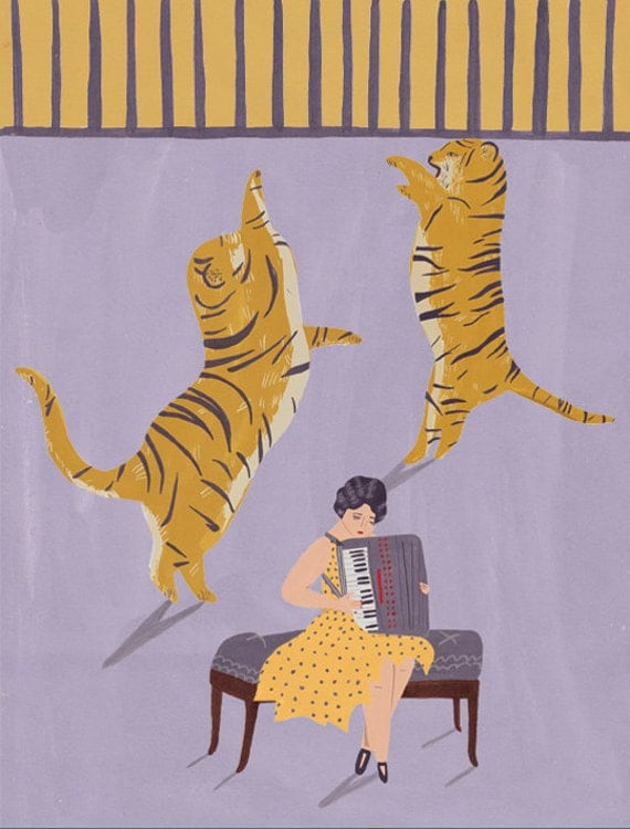 Tigers and accordionist circus giclee print