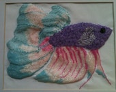 "The ""Little Beta"" ,  a 8"" x 10"" hand beaded picture using thousands of seed beads"
