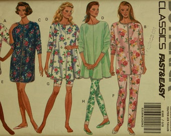 Pajamas and Nightshirt -1990's- Butterick Pattern 6360 Uncut Sizes  6 to 22  Bust 30.5 to 44""