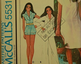 Top, Dress & Pants by Marlo Thomas -1970's- McCall's Pattern 5531 Size 8  Bust  31.5""