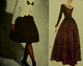 Top scalloped neckline and full skirt - 1990's -Vogue Bellville Sassoon Designer Dress Pattern 1015 Size 12 or 14