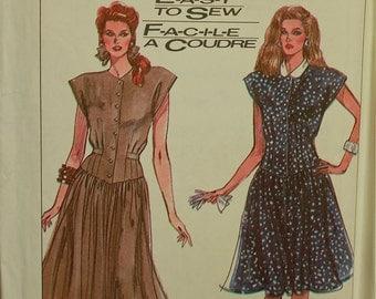 Dress, Dropped Waistline - 1980's - Simplicity Pattern 8486 Uncut  Sizes 6-8-10, 10-12-14