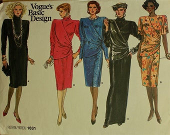 Dress, Side Drape -1980's- Vogue  Pattern 1631  Uncut  Sizes 12-14-16  Bust 34-36-38""