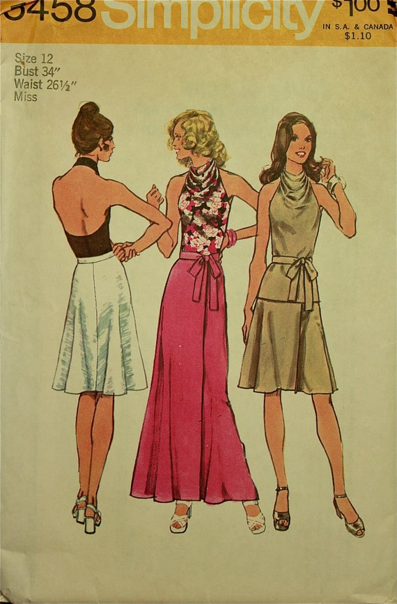 """Skirt, Front Wrap and Halter Cowl Neck Top -1970's- Simplicity Pattern 5458  Size 12  Bust 34"""""""