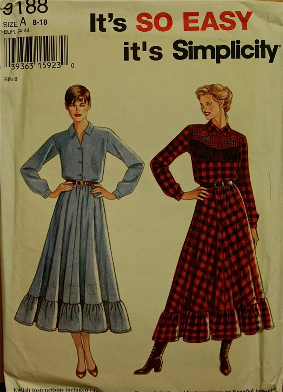 """1990s Simplicity Country Style Shirt Dress Pattern 9188 Uncut  Sizes 8-10-12-14-16-18  Bust  31.5 to 40"""""""
