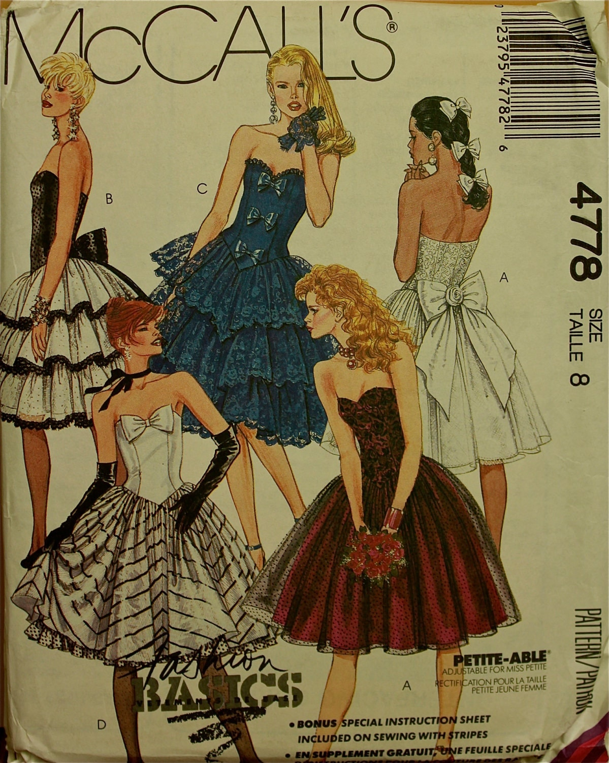 1990s Strapless Party Or Prom Dress Mccall S Pattern 4778