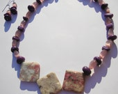 Pink and Purple Beaded Necklace with Large Stone Beads