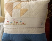 Prairie Farm House  style Upcycled Vintage Quilt Pillow