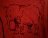 Hand Painted Maroon Elephant Sweatshirt