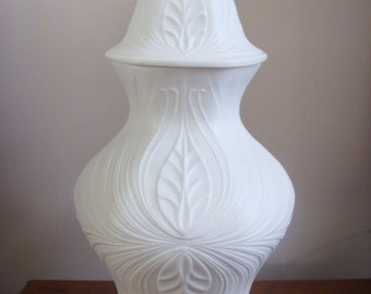 Biscuit porcelain vase with lid/ ginger jar in Art Nouveau style.