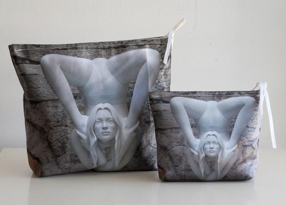 Sale,  20% off.  Special price for tow bags, Toiletries bag and Medium size pouch, photo of Kate Moss sculpture