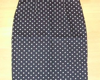 Baylis & Knight Navy Polka LOLA High Waisted Wiggle Pencil Skirt Dita Burlesque Pin Up 50's Rockabilly