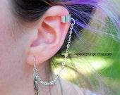 Silver Ankh Metal Ear Cuff / Chain Ear Cuff / Grunge Earring / Ankh / Silver Cross Ear Cuff