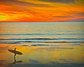 Peace and Reflection 8x12 Surfing beach surf photography print ocean sea surfer beachy waves wall art sunset water