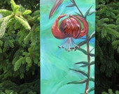 """dimensional orginal painting by ALI """"Tiger Lily"""" acrylic 8 x 24"""
