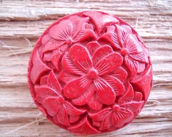 Carved Cinnabar Focal Bead/Flowers/44mm