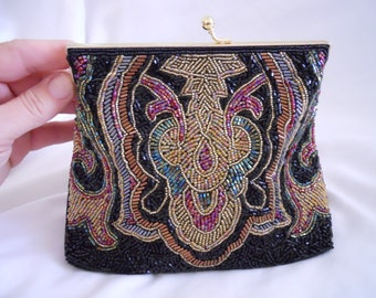 Vintage 1970's Formal Beaded Bag with Goldtone Chain/Multi-Color Beads/Never Used/Mint
