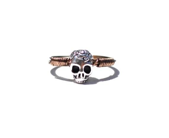 Silver Rose Skull Ring I