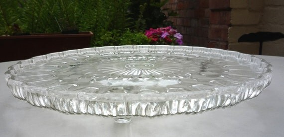 Vintage Cake Stand Pressed Glass Probably 60s Bagley 3 Feet Pretty Retro Gift Very Good Condition