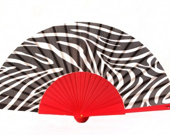 Designer HAND FAN | Zebra print | animal print | gift for her | summer fashion accessory | black / white / red | Free Shipping Worldwide