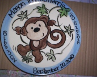 Boy Monkey Birthday Plate