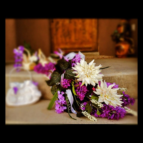 Lavender Waterfall Bouquet and Boutonniere Package