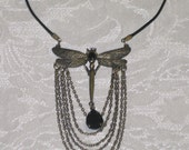LARGE antiqued brass dragonfly bib necklace