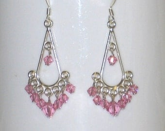 Chandelier earrings with pink Swarovski crystals