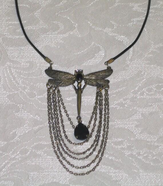 LARGE antiqued brass dragonfly bib necklace
