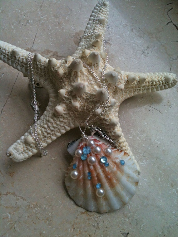 Mermaid Shell Necklace 925 Sterling Silver with seahorse charm