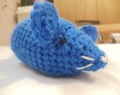 Dark Blue Amigurumi Mouse
