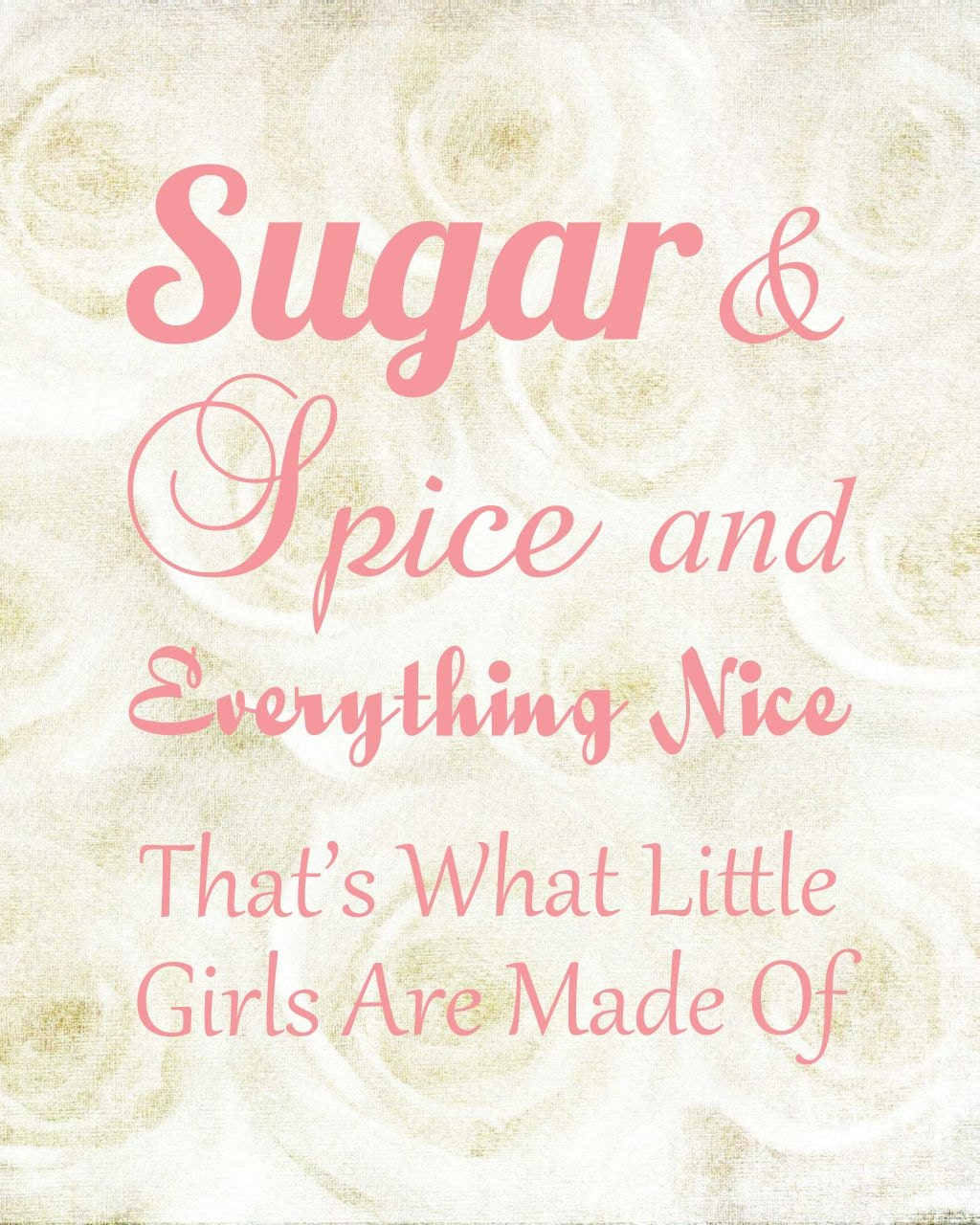 8X10 Subway Art Sugar And Spice For Baby Girl's By CJMSquared