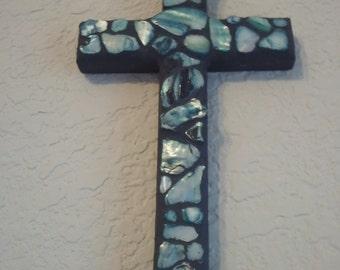 Blue Shell Mosaic Cross