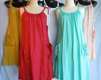Women's crushed linen sundress, Linen clothing, Handmade, Jumper, Maternity dress, Many colours, Pockets.