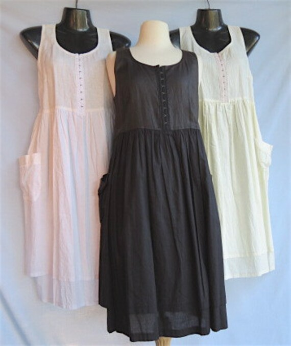 Women's sundress, pure linen,  double cotton voile skirt, genuine handmade, linen clothing,hook & eye fastening and  side pockets.
