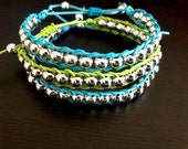 Silver Bead Blue and Green Wrap Bracelets - Single Wrap 3-Piece Set