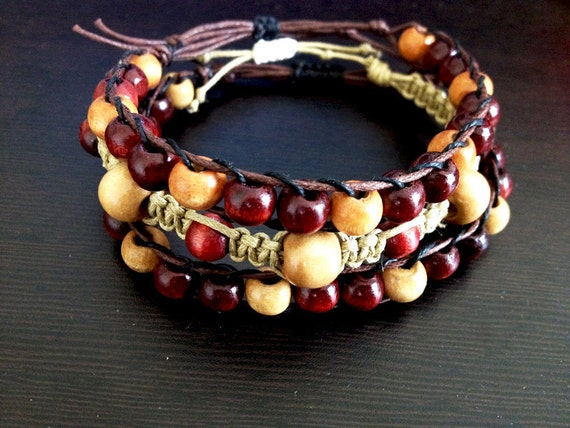 Wooden Bead Macrame and Wrap Bracelets - Tan and Deep Red