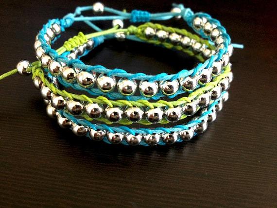 Silver Bead Blue and Green Wrap Bracelets - Single Wrap 3-Piece Set