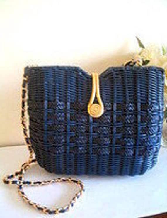 Vintage Navy Blue Coated Wicker Basket Shoulderbag By Mino