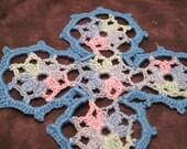 """Crocheted cross in variegated """"Ocean"""" blues item 109"""