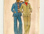 """A Retro 1970's Casual, Unlined Jacket, and Slim Fitting, Flared Pants Pattern: Men's Size 44, Chest 44"""" • Butterick 4496"""