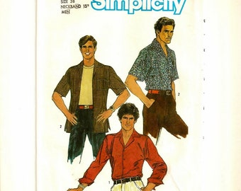 "A Traditional Topstitched, Front Button, Collared, Straight Hem, Long / Short Sleeve Shirt Pattern: Men's Size 38 Neck 15"" • Simplicity 6630"