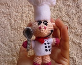 Miniature - The pig cook crochet amigurumi