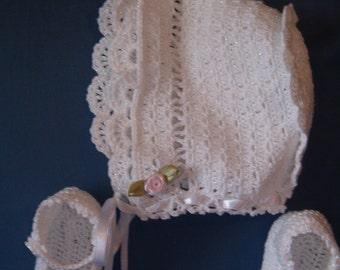 Infant girsl crocheted bonnet & booties