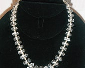 """Vintage Graduated Faceted Crystal Bead Necklace 15"""" Long"""