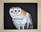 Two-Faced Barn Owl Acrylic Painting - RESERVED for adelinejewlery